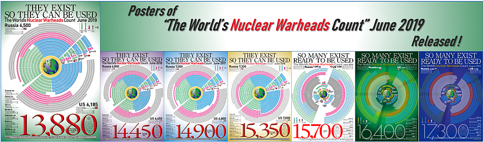 "Posters of ""The World's Nuclear Warheads Count"" June 2019"